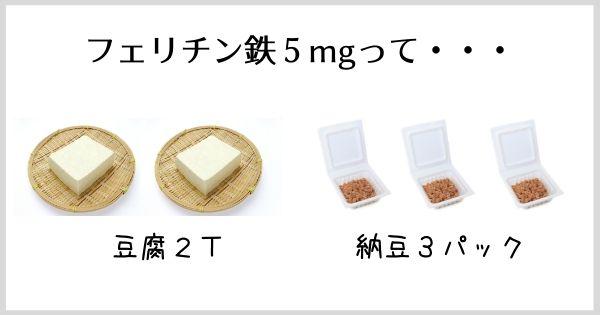 豆腐や納豆の鉄分は?5mgを取るなら